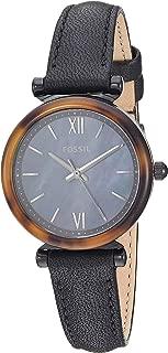 Women's Carlie Mini Quartz Leather Watch, Color: Black, 12 (Model: ES4650)
