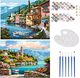 WINAROI 2 Pièces DIY Peinture par Numéro Kit , DIY Toile Peinture par Numéro Acryliques Peinture à l'huile pour Adultes En...