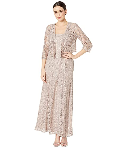 d0eb4f515ac Alex Evenings Long Sequin Lace A-Line Jacket Dress with Illusion Cascade  Jacket