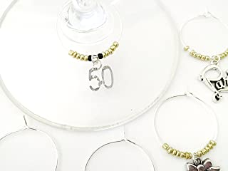 50th birthday wine glass charms