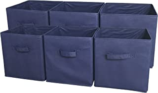 Sodynee Foldable Cloth Storage Cube Basket Bins Organizer Containers Drawers, 6 Pack, Navy Blue