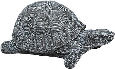 Statue en pierre tortue, gris ardoise, pierre reconstituée