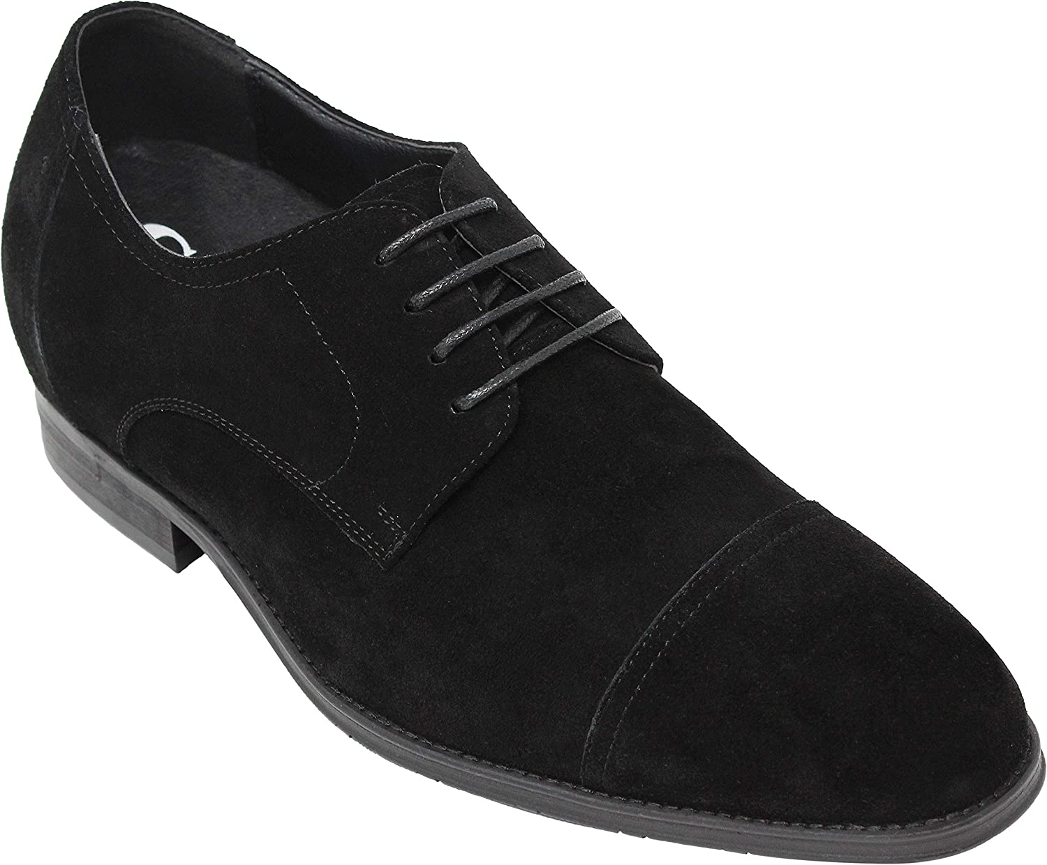 CALTO Men's Invisible Height Increasing Elevator Shoes - Black Suede Leather Lace-up Formal Oxfords - 3 Inches Taller - Y40215