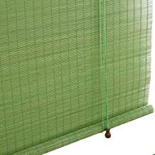 YJJT Rolgordijn bamboe jaloezieën, bamboe tinten, groen, houten rolgordijnen voor ramen en deuren decoratie, eenvoudig te ...