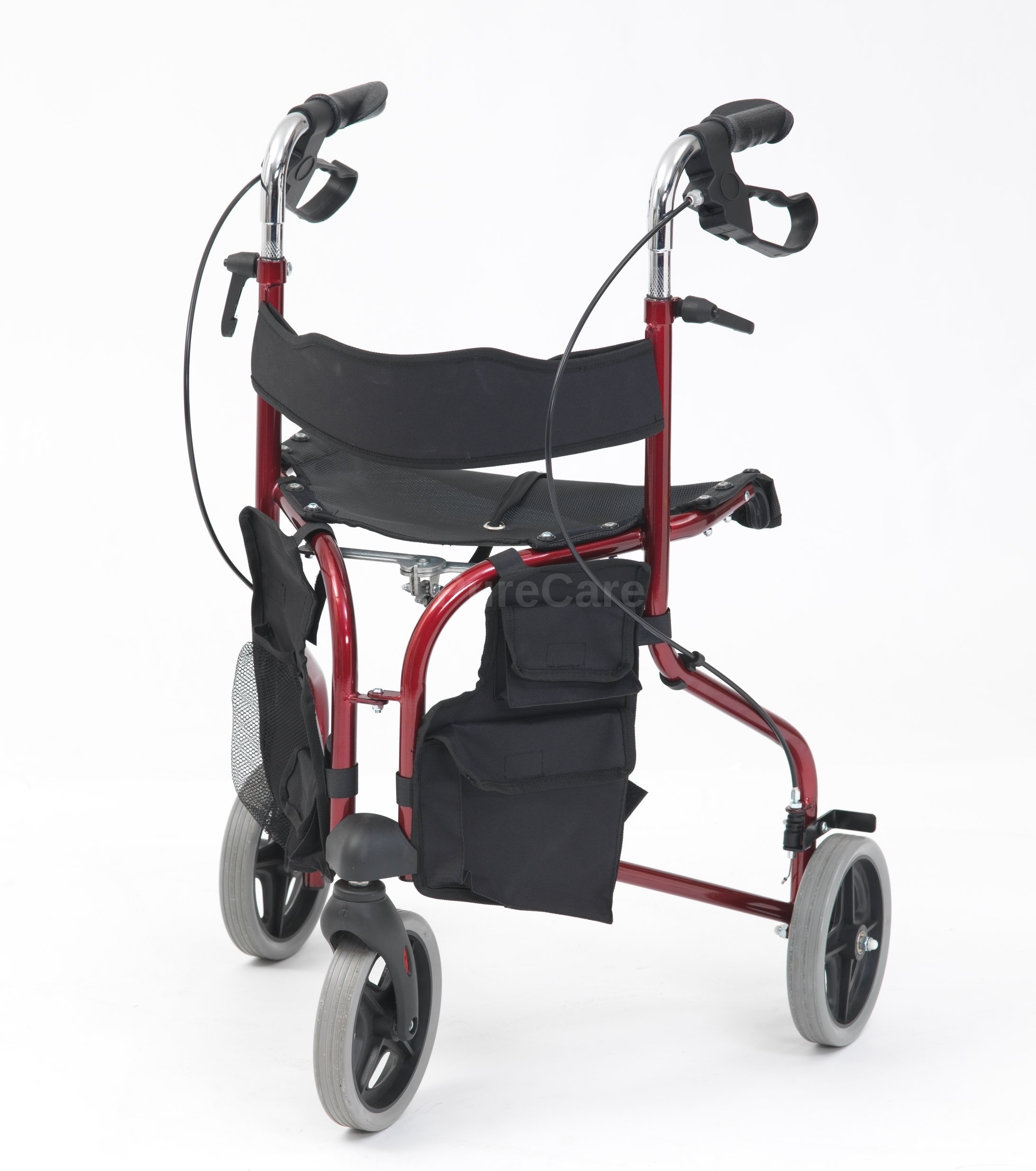 Drive R8 Red Aluminium Rollator with Padded Seat and Vinyl Underseat Bag