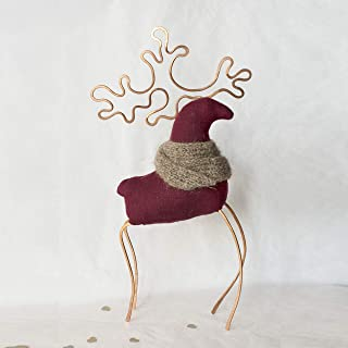 Christmas Santas reindeer made of burgundy linen in the style of primitive textile toys scandinavian deer eco-friendly natural materials will decorate the fireplace and Christmas tree 9.8 inch
