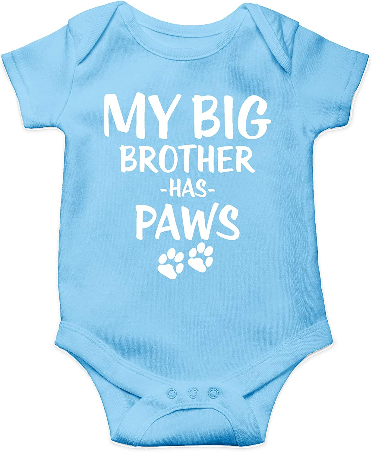 Baby/'s with cats dogs animals Custom name My big brother has paws light blue long sleeve baby grow rompersuit sleepsuit bodysuit