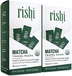 Rishi Matcha Travel Packs, Organic Green Tea Powder, 12 Packets (Pack of 2)
