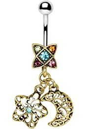 Little Aiden Vibrant Moon Drop Top Down Reversible Belly Button Ring Size 14GA 3//8