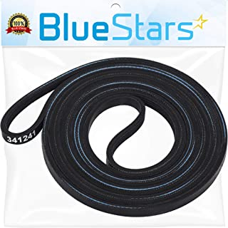 Ultra Durable 341241 Dryer Drum Belt Replacement Part by Blue Stars- Exact Fit for Whirlpool Kenmore Dryer - Replaces 26000341241 26000349533 31001026