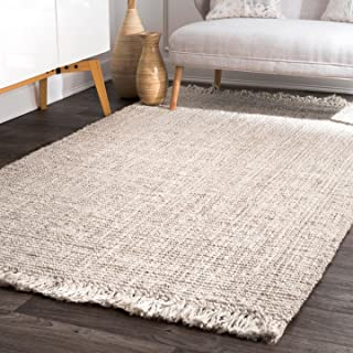 """nuLOOM Natura Collection Chunky Loop Jute Rug, 5' x 7' 6"""", Off-White"""