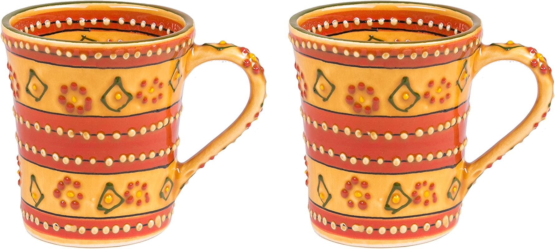 Mexican Themed Coffee Mugs Hand Painted And Custom Made Traditional Mexican Pottery Bright Colorful Lead Free And Superior Quality