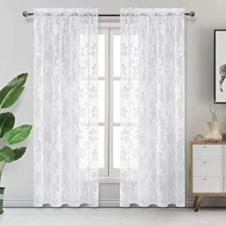 DWCN Floral Lace Sheer Curtains - Rod Pocket Window Voile Sheer Drapes for Bedroom Kitchen Short Curtains 52 x 84 inches Long, Set of 2 White Curtain Panels