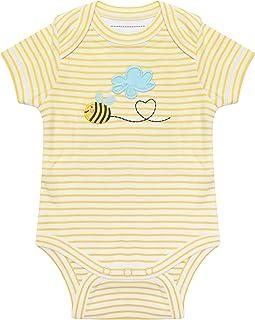 Piccalilly Body à manches courtes en coton biologique souple Motif bourdonnet Jaune nouveau-né 18-24 mois