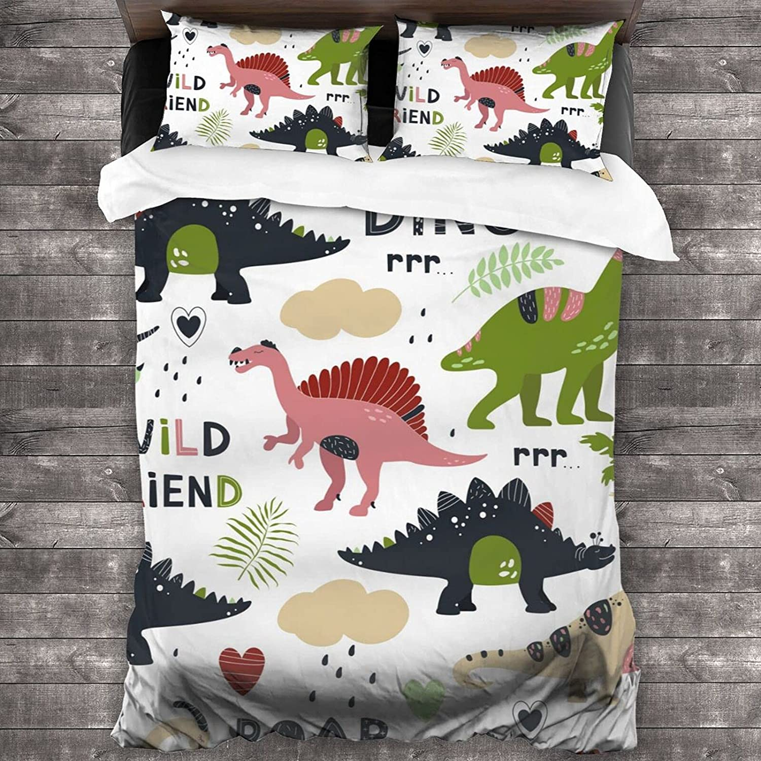 service Max 60% OFF Dinosaur Camouflage 3 Piece Duvet Soft Comfortable Cover Bedding