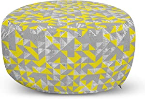 Lunarable Modern Ottoman Pouf, Illustration of Triangular Squares and Polka Dots Abstract Ornaments, Decorative Soft Foot Rest with Removable Cover Living Room and Bedroom, Charcoal Grey Yellow