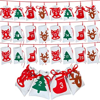 Blulu Christmas Calendar Advent Calendar 24 Days Christmas Countdown Calendar Hanging Felt Gift Bags for Christmas Party Home Decoration