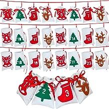 Blulu Christmas Calendar Advent Calendar 24 Days Christmas Countdown Calendar Hanging Felt Gift Bags for Christmas Party Home Decoration