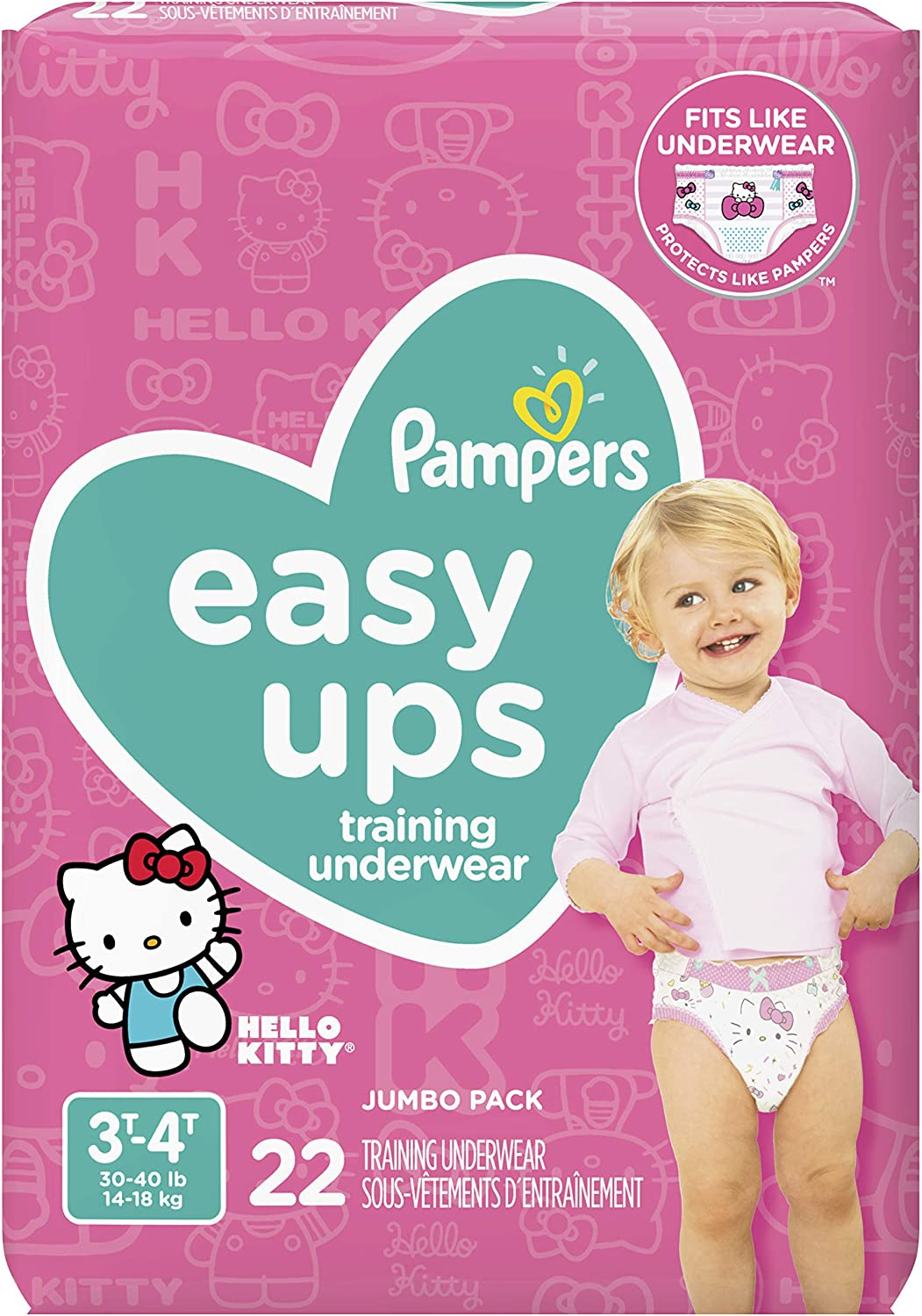 Pampers Easy Ups Training Underwear Girls Size 5 3T-4T 22 Count
