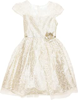 Little Girls' Special Occasion Dress (Ivory Embroidery, 5)