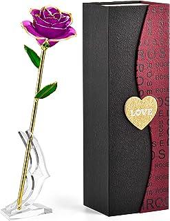 人気 彼女 プレゼント 薔薇 花, FORGIFTING 24K ゴールドローズ, 保存された樹脂、金メッキローズ —— バレンタインデー、母の日、結婚記念日、結婚式、誕生日に適用(永遠の紫ばら、透明スタンド付き)