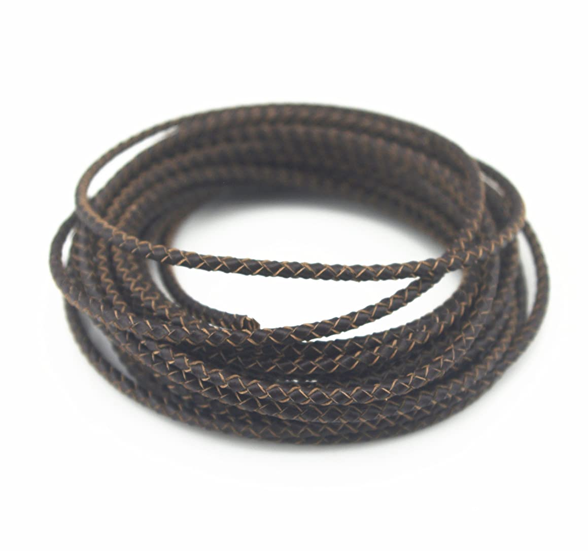 Glory Qin 5 Yards Round Folded Bolo Braided Genuine Leather Cord for Making Bracelet & Jewelry (Dark Brown, 3mm)