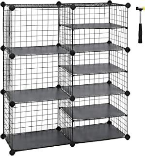 SONGMICS Cube Storage Unit, Interlocking Metal Wire Organizer with Divider Design, Modular Cabinet, Bookcase for Closet Bedroom Kid's Room, Includes Rubber Mallet 34.3