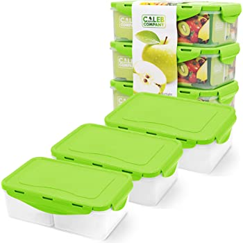 Green Bento Box – 39oz - 3 Food Containers for Adults & Kids – School Lunch Box – Removable Compartments – BPA Free – Baby Snack Container – Snap Lock Lids – Leak proof - Microwave & Dishwasher Safe