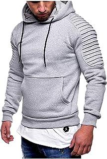 Sudadera con capucha para hombre, corte ajustado, manga larga, color negro, con bolsillo tipo canguro.
