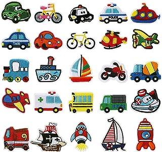 LEMESO 25 piezas Ropa Parches Tema Transporte Coches Lindos Material de Costura para Niños Parches Termoadhesivos Barcos A...