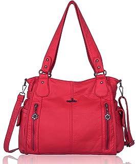 6d2387f480 Angelkiss 2 Sacs à Main Femmes Cuir Sacs Portés Main Bourses en Cuir lavé  Top Zippers