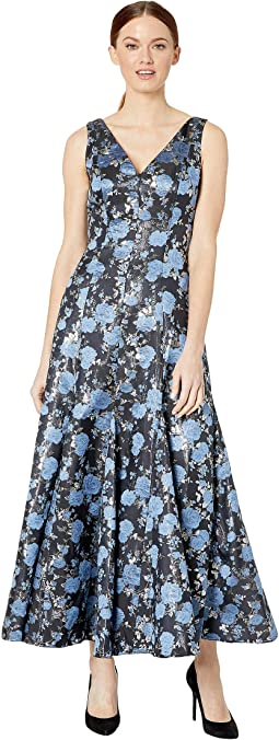 Jacquard Midi Dress with Godets