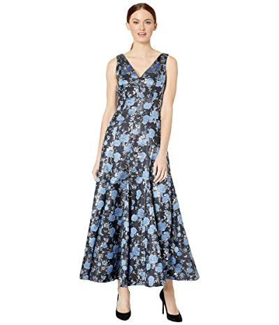 Adrianna Papell Jacquard Midi Dress with Godets (Blue Multi) Women