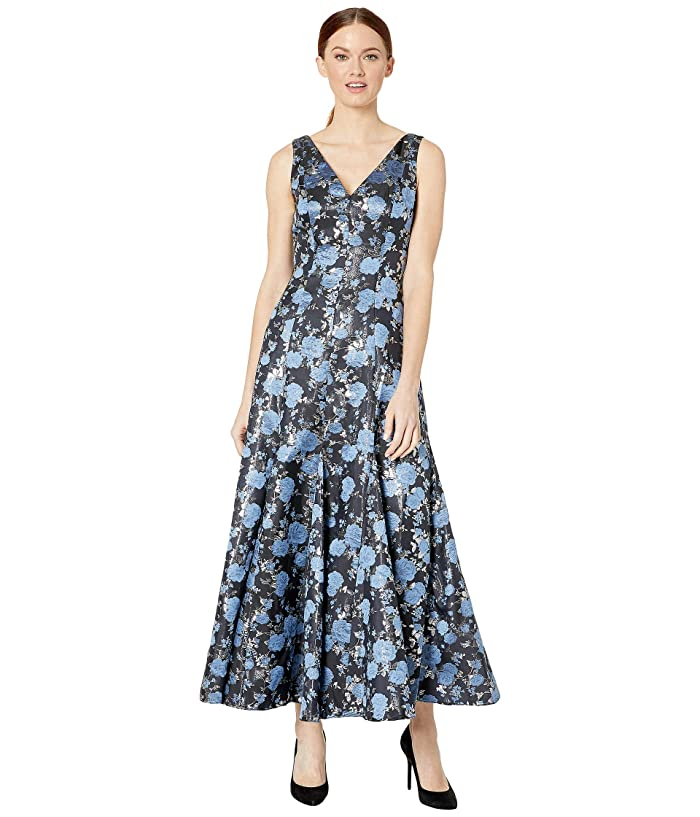 Vintage Evening Dresses and Formal Evening Gowns Adrianna Papell Jacquard Midi Dress with Godets Blue Multi Womens Dress $147.87 AT vintagedancer.com