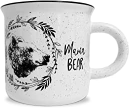 Mama Bear White Ceramic Campfire 14 ounce Coffee Mug - Perfect for Her: New Mom, Wife, Grandma, Expectant Mother - by MKT ST