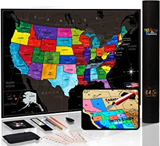 """Novelty Place Scratch Off Map of The US with States and Flags - Travel Tracker Map Poster - Complete Scratcher Kit Included - Large Size 24"""" X 17"""" - Premium Wall Art Gift for Loved Ones"""