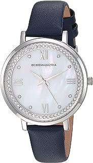 BCBGMAXAZRIA Women's Japanese-Quartz Stainless Steel Case Geniune Leather/Stainless Steel Strap Casual Watch (Model: BG50665001-08