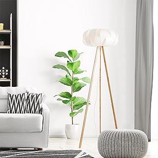 Lightbox Lampadaire style nature avec interrupteur à pied, compatible avec ampoules LED, 1 ampoule E27 max. 60 W, bambou/p...