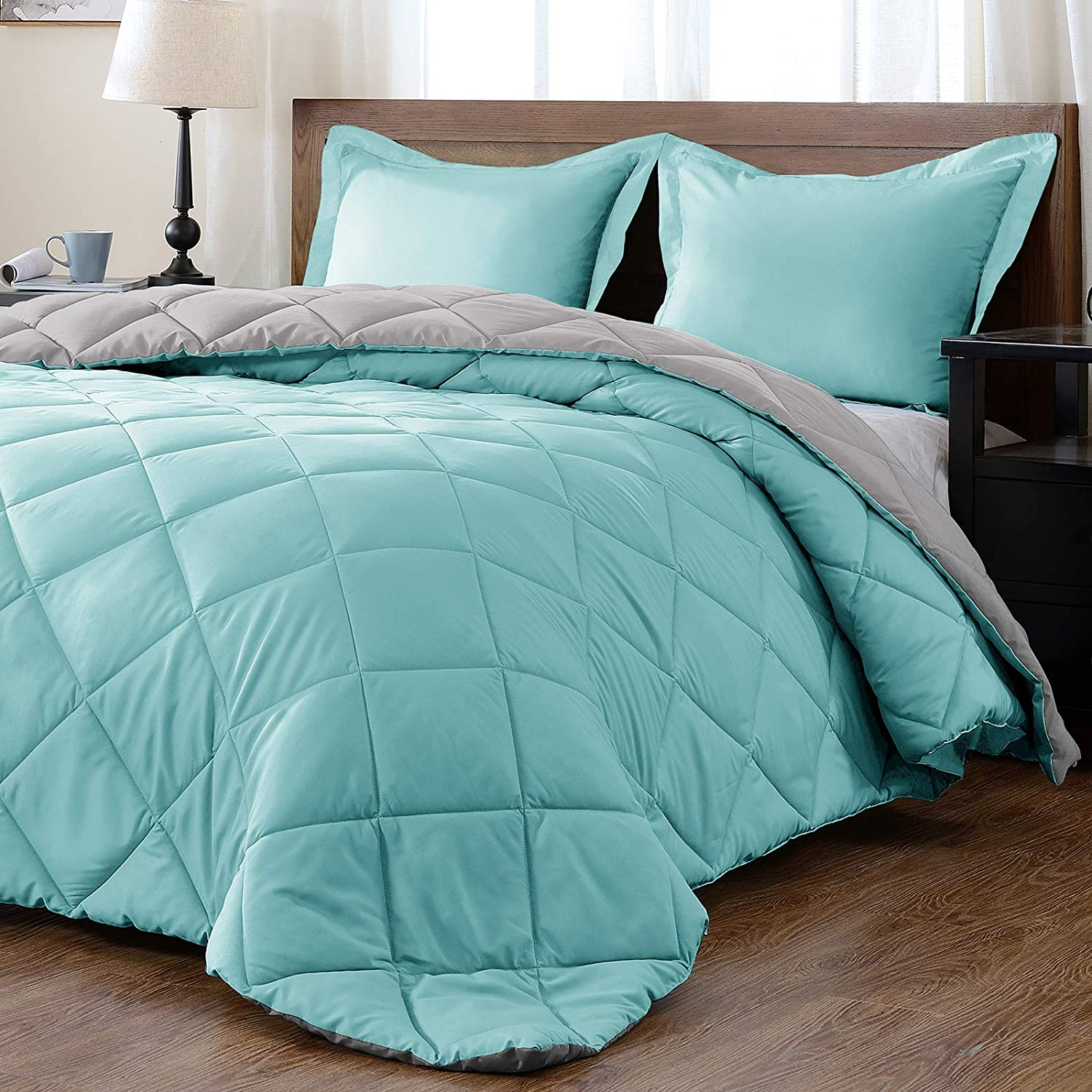 downluxe Lightweight Solid Comforter Set Sh King Pillow with 2 Year-end Spring new work one after another gift