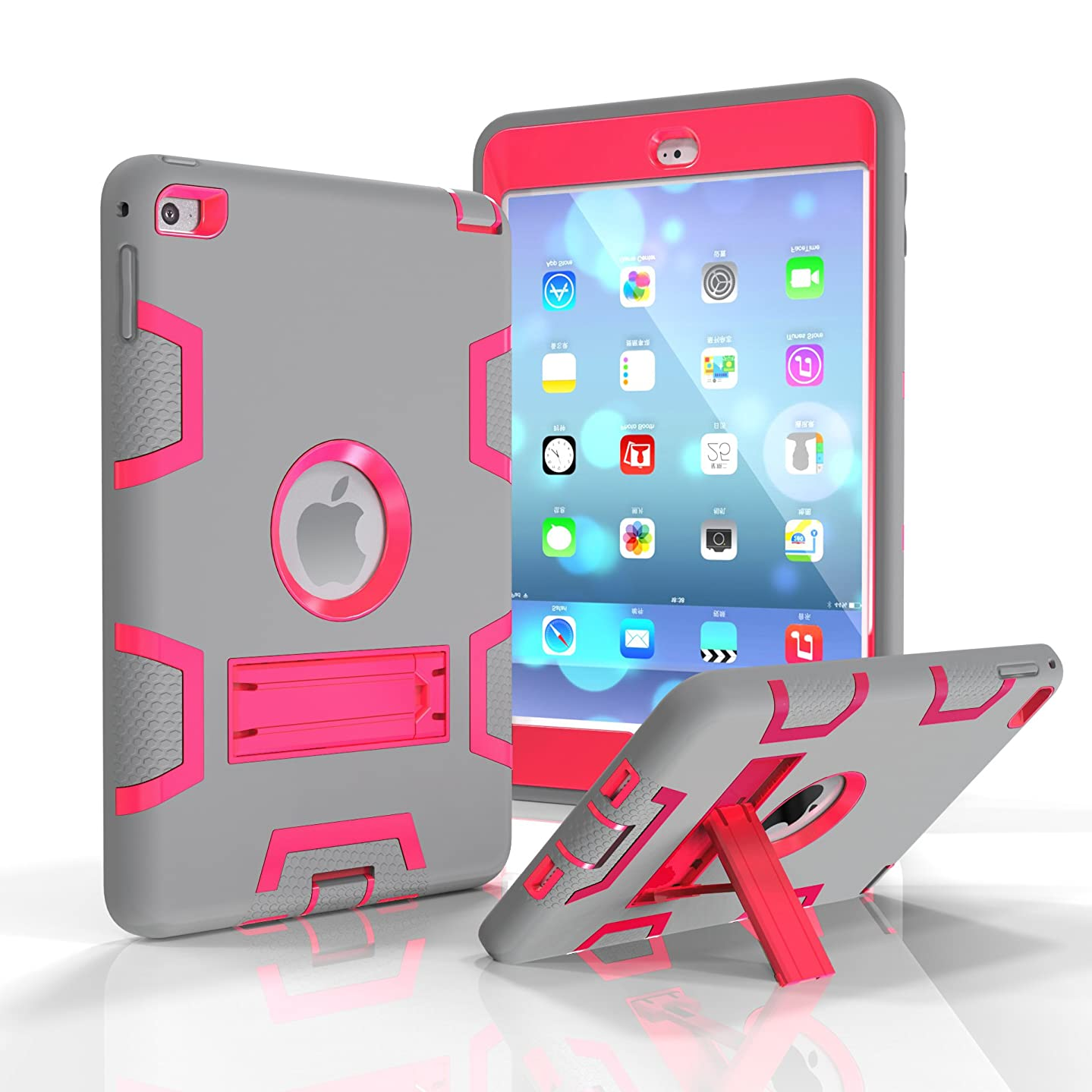 iPad Mini 4 Case, Dooge Three Layers PC&Silicon Armor Defender Heavy Duty Shockproof Rugged Hybrid Full Body Protective Case with Kickstand for Apple iPad Mini 4 (7.9 Inch)