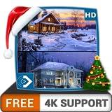 無料の仮想降雪HD-HDR 4K TV、8K TVの美しい景色を壁紙として、クリスマス休暇の装飾、調停と平和のテーマとしてお楽しみください