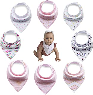 Olyssa & Co Baby Bandana Drool Bibs for Drooling Teething Girls - 8 Pack + Bonus - Free -Teething Ring - Super Soft Organic Cotton Front & Ultra Absorbent Backing. Perfect Baby Shower Gift Set