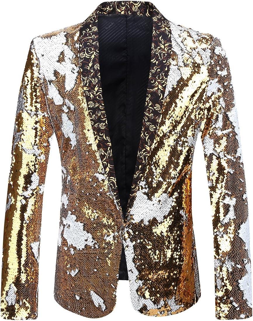 PYJTRL Men Stylish Al sold out. Two Limited price sale Color Shiny Sequins Conversion Sui Blazer