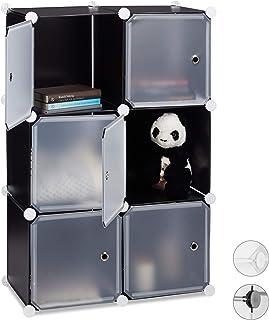 Relaxdays Étagère Cubes penderie Armoire Rangement 6 casiers Plastique modulable DIY HLP: 97,5x66x32 cm, Noir, Acier, PP, ...