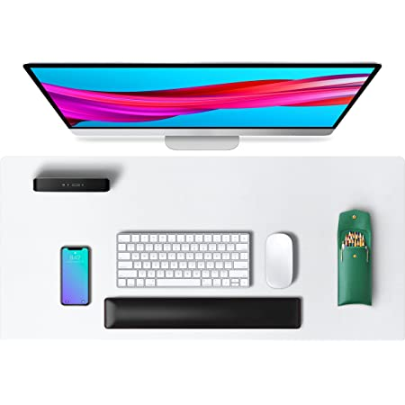 Aothia Tapis de bureau,tapis de souris,tapis de bureau,80x40cm,buvard de bureau en cuir PU antidérapant, protecteur de bureau pour ordinateur portable pour la maison et le bureau(Blanc)