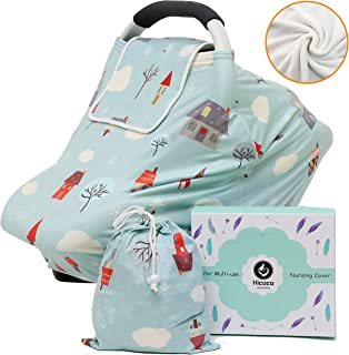 Winter Fleece Lined Nursing Covers - Multi-use Baby Car Seat Cover, Double Layer Thermal Infant Stroller Carseat Canopy, Breastfeeding Privacy Covers for Girls and Boys