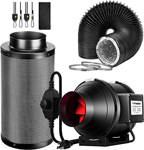wholesale VIVOSUN 4 Inch 190 CFM Inline Fan with Speed Controller, 4 Inch Carbon Filter with a 2021 Pair of outlet sale Rope Hanger, 8 Feet of Ducting Kit for Grow Tent Ventilation online