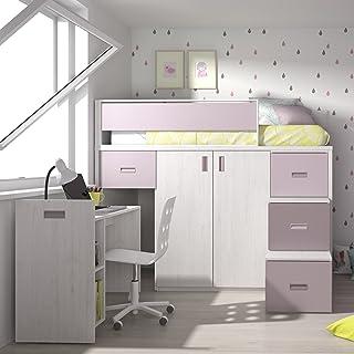 Meubles ROS Lit Mezzanine avec Bureau Amovible et Armoire - 164,4x203,8x165,2 cm (Chêne/Mauve/Mûre, Échelle à Droite)