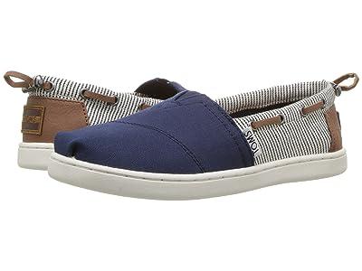 TOMS Kids Bimini Espadrille (Little Kid/Big Kid) (Navy Canvas/Stripes) Kids Shoes