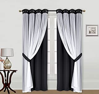 """ECM. Catarina Layered Solid Blackout and Sheer Window Curtain Panel Pair with Grommet Top 2 Layered (Black, 2PC 52"""" x 96"""")"""
